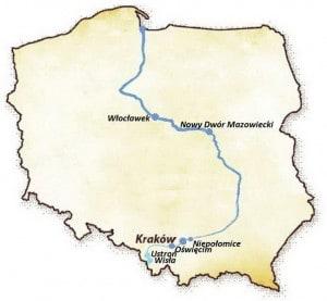 Польский город Висла на реке Висла. Карта Польши город Висла